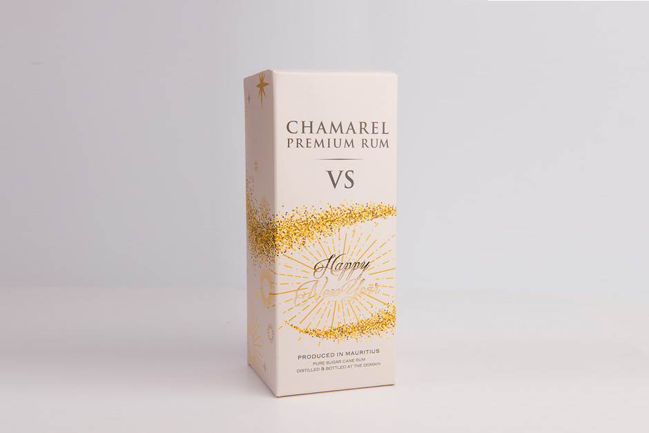 Chamarel Premium Rum packaging, printed by Précigraph