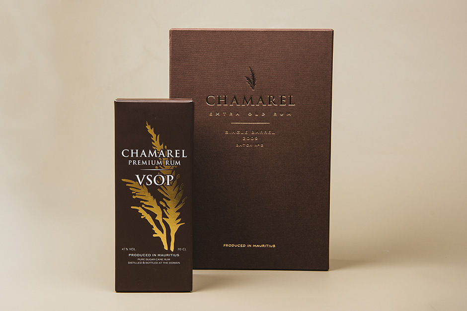 Chamarel Premium Rum / VSOP packaging, printed by Précigraph