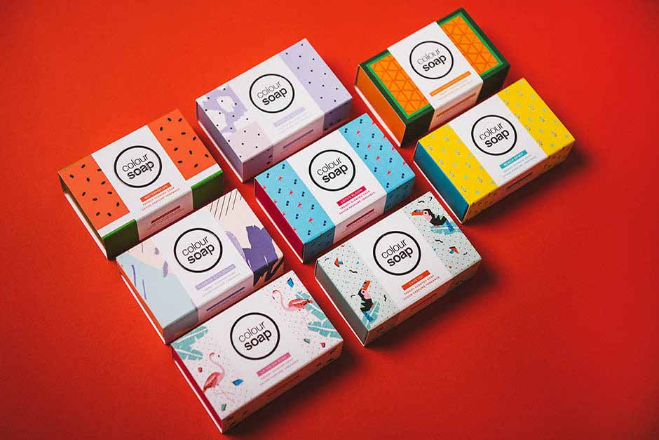 Colour Soap packaging, Cheekips, printed by Précigraph