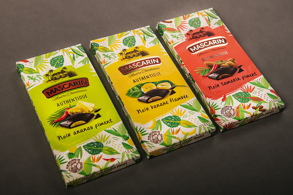 Mascarin Chocolat packaging, printed by Précigraph