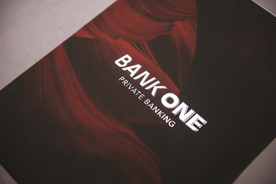Bank One folder, printed by Précigraph