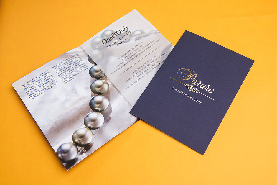 Parure Jewellwery & Watches brochure, One&Only Le Saint Géran, printed by Précigraph