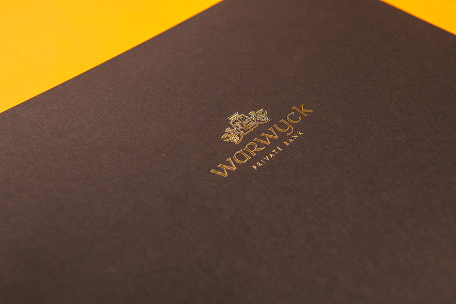 Warwyck Private Bank brochure, printed by Précigraph